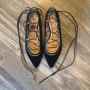 Sam Edelman black lace up flats black suede
